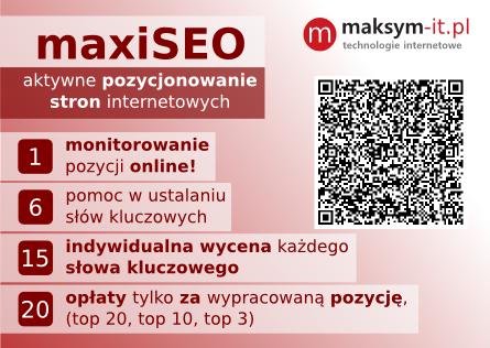 Pozycjonowanie stron internetowych maxiSEO - Tarnów, Bochnia, Brzesko, Dębica